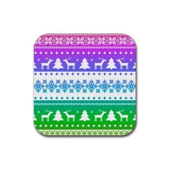 Cute Rainbow Bohemian Rubber Square Coaster (4 Pack)  by Brittlevirginclothing