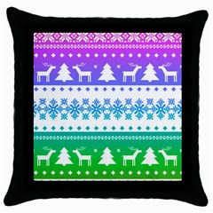 Cute Rainbow Bohemian Throw Pillow Case (black) by Brittlevirginclothing