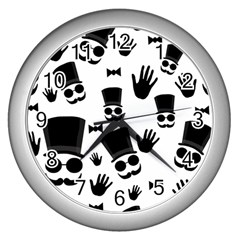 Gentlemen   Black And White Wall Clocks (silver)  by Valentinaart