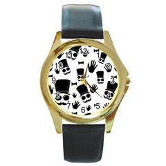 Gentlemen   Black And White Round Gold Metal Watch
