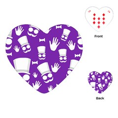 Gentleman Pattern   Purple And White Playing Cards (heart)  by Valentinaart