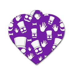 Gentleman Pattern   Purple And White Dog Tag Heart (one Side) by Valentinaart