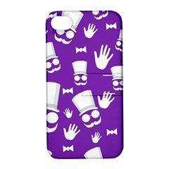 Gentleman Pattern   Purple And White Apple Iphone 4/4s Hardshell Case With Stand by Valentinaart