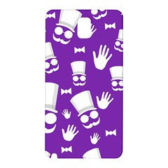 Gentleman Pattern   Purple And White Samsung Galaxy Note 3 N9005 Hardshell Back Case by Valentinaart