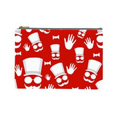 Gentlemen   Red And White Pattern Cosmetic Bag (large)  by Valentinaart