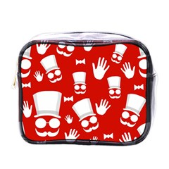 Gentlemen   Red And White Pattern Mini Toiletries Bags by Valentinaart