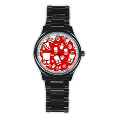 Gentlemen   Red And White Pattern Stainless Steel Round Watch by Valentinaart