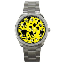 Gentlemen   Yellow Pattern Sport Metal Watch by Valentinaart