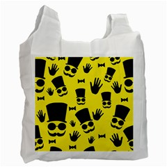 Gentlemen   Yellow Pattern Recycle Bag (two Side)  by Valentinaart