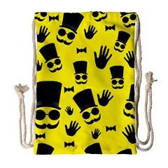 Gentlemen   Yellow Pattern Drawstring Bag (large) by Valentinaart