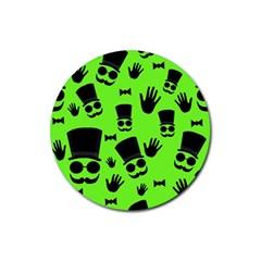 Gentleman   Green Pattern Rubber Coaster (round)  by Valentinaart