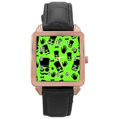Gentleman   Green Pattern Rose Gold Leather Watch  by Valentinaart