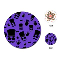 Gentleman Purple Pattern Playing Cards (round)  by Valentinaart