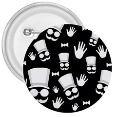 Gentleman   Black And White Pattern 3  Buttons by Valentinaart