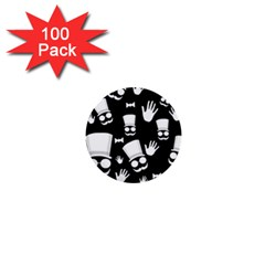 Gentleman   Black And White Pattern 1  Mini Buttons (100 Pack)  by Valentinaart