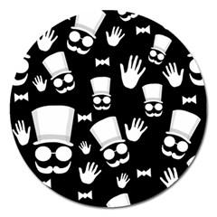 Gentleman   Black And White Pattern Magnet 5  (round) by Valentinaart