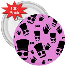 Gentleman   Pink Pattern 3  Buttons (100 Pack)  by Valentinaart