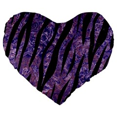 Skin3 Black Marble & Purple Marble (r) Large 19  Premium Flano Heart Shape Cushion by trendistuff