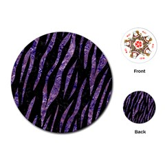 Skin3 Black Marble & Purple Marble Playing Cards (round) by trendistuff