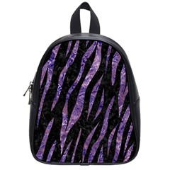 Skin3 Black Marble & Purple Marble School Bag (small) by trendistuff