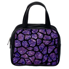 Skin1 Black Marble & Purple Marble Classic Handbag (one Side) by trendistuff