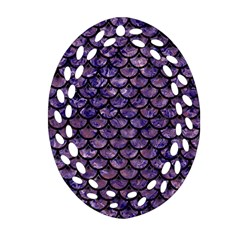 Scales3 Black Marble & Purple Marble (r) Oval Filigree Ornament (two Sides) by trendistuff