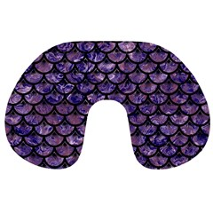 Scales3 Black Marble & Purple Marble (r) Travel Neck Pillow by trendistuff