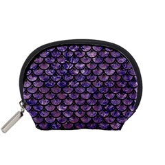 Scales3 Black Marble & Purple Marble (r) Accessory Pouch (small) by trendistuff