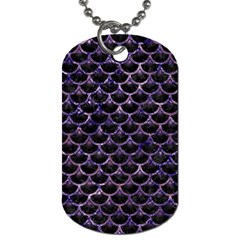 Scales3 Black Marble & Purple Marble Dog Tag (one Side) by trendistuff