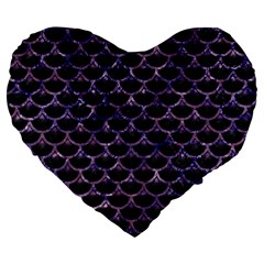 Scales3 Black Marble & Purple Marble Large 19  Premium Flano Heart Shape Cushion by trendistuff
