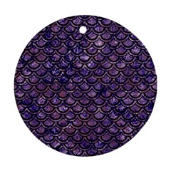 Scales2 Black Marble & Purple Marble (r) Round Ornament (two Sides) by trendistuff