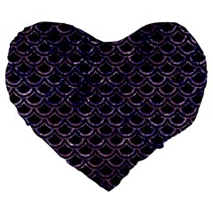 Scales2 Black Marble & Purple Marble Large 19  Premium Flano Heart Shape Cushion by trendistuff