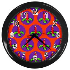 Christmas Candles Seamless Pattern Wall Clocks (black)