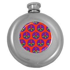 Christmas Candles Seamless Pattern Round Hip Flask (5 Oz) by Amaryn4rt