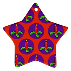 Christmas Candles Seamless Pattern Star Ornament (two Sides)