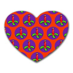 Christmas Candles Seamless Pattern Heart Mousepads by Amaryn4rt