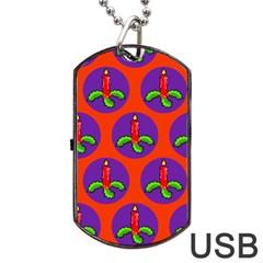 Christmas Candles Seamless Pattern Dog Tag Usb Flash (one Side)