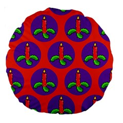 Christmas Candles Seamless Pattern Large 18  Premium Round Cushions by Amaryn4rt