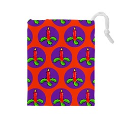 Christmas Candles Seamless Pattern Drawstring Pouches (large)