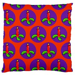 Christmas Candles Seamless Pattern Large Flano Cushion Case (one Side)