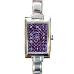 Scales1 Black Marble & Purple Marble (r) Rectangle Italian Charm Watch by trendistuff