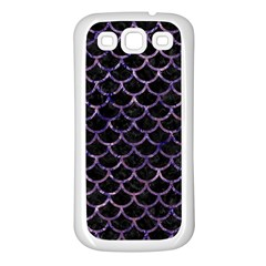 Scales1 Black Marble & Purple Marble Samsung Galaxy S3 Back Case (white) by trendistuff