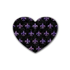 Royal1 Black Marble & Purple Marble (r) Rubber Coaster (heart) by trendistuff