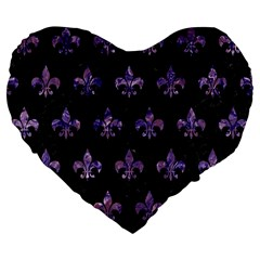 Royal1 Black Marble & Purple Marble (r) Large 19  Premium Flano Heart Shape Cushion by trendistuff