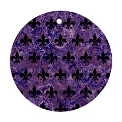 Royal1 Black Marble & Purple Marble Ornament (round)