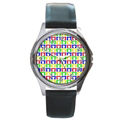 Colorful Curtains Seamless Pattern Round Metal Watch
