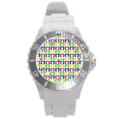 Colorful Curtains Seamless Pattern Round Plastic Sport Watch (l) by Amaryn4rt