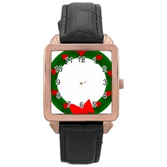 Holiday Wreath Rose Gold Leather Watch