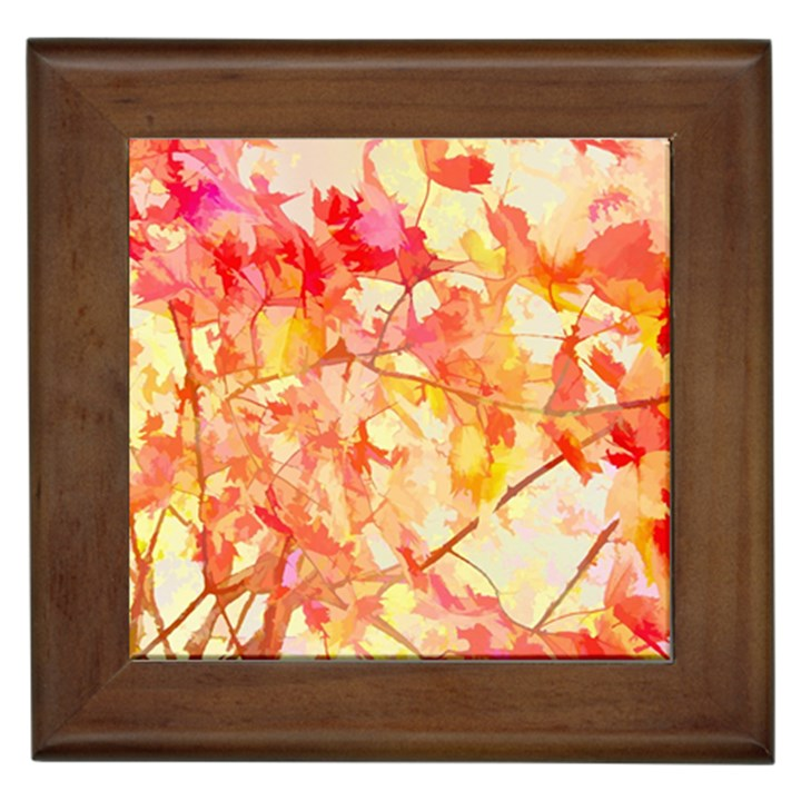 Monotype Art Pattern Leaves Colored Autumn Framed Tiles