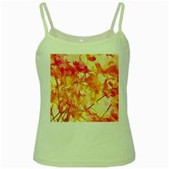 Monotype Art Pattern Leaves Colored Autumn Green Spaghetti Tank